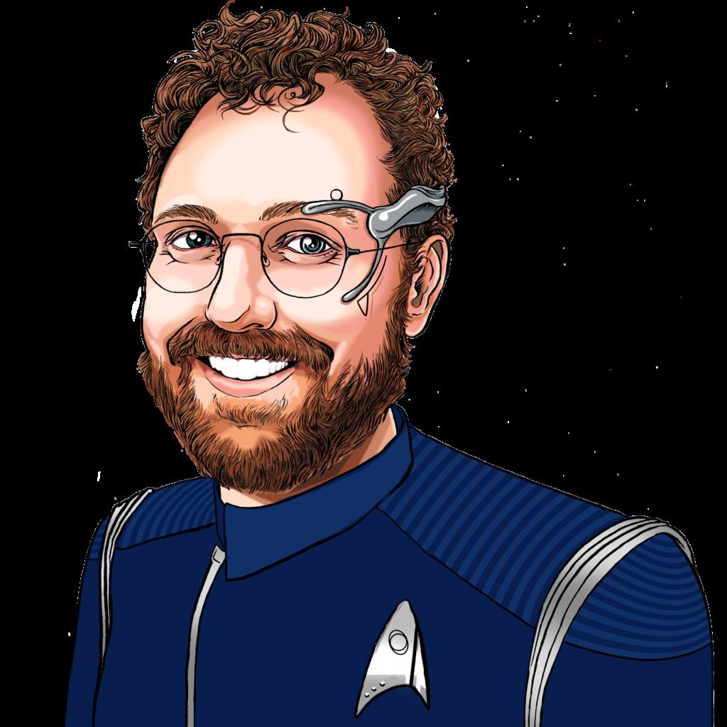Ben McKenzie in blue and silver Discovery-era Starfleet science division uniform.