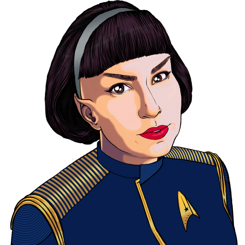 Carla Donnelly in blue and gold Discovery-era Starfleet captain's uniform.