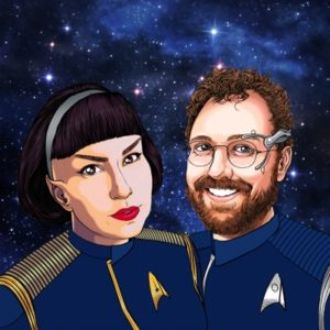 Hosts Carla and Ben in Starfleet uniforms on a space background. Illustration by Alex E Clark.